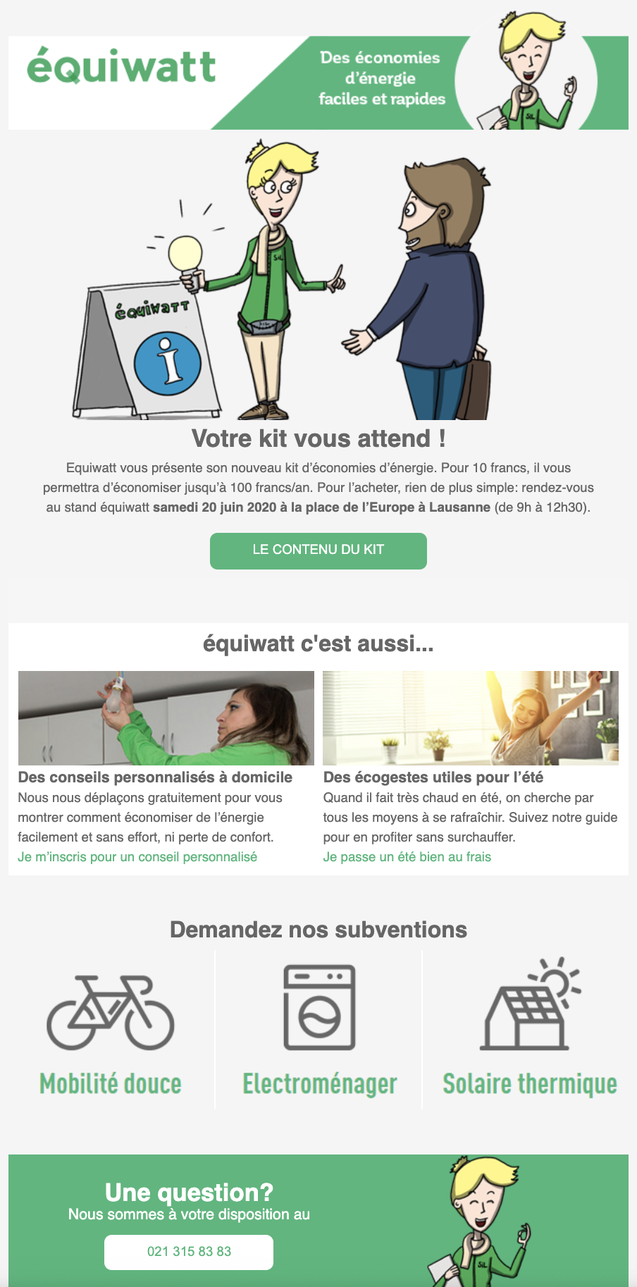 Exemple d'une newsletter Equiwatt